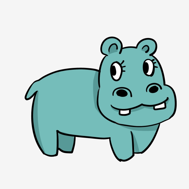 Hand painted cartoon lovely. Clipart hippo small