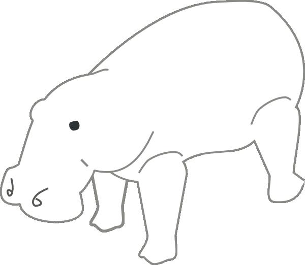 Outline animal clip art. Clipart hippo small