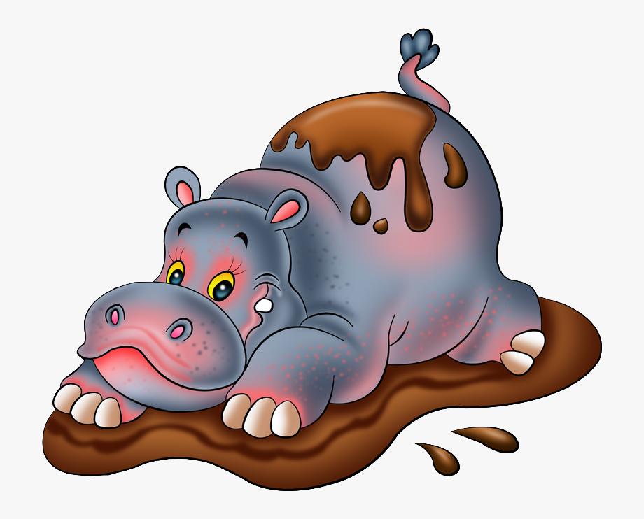 Hippo clipart swimming. In mud cartoon