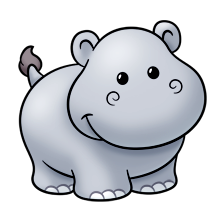 Hippo clipart realistic cartoon. Change the tail add