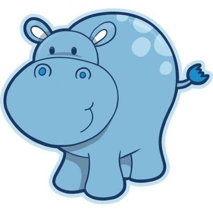 Cute baby hippopotamus bebe. Clipart hippo vector