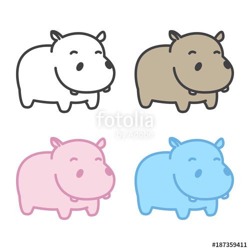 Clipart hippo vector. Hippopotamus icon logo cartoon