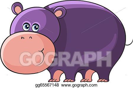 Hippo clipart wild animal. Eps vector cartoon african