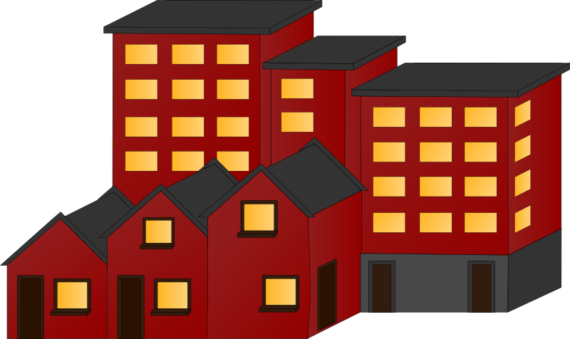 Apartment clipart 2 house. Appartment buildings and town