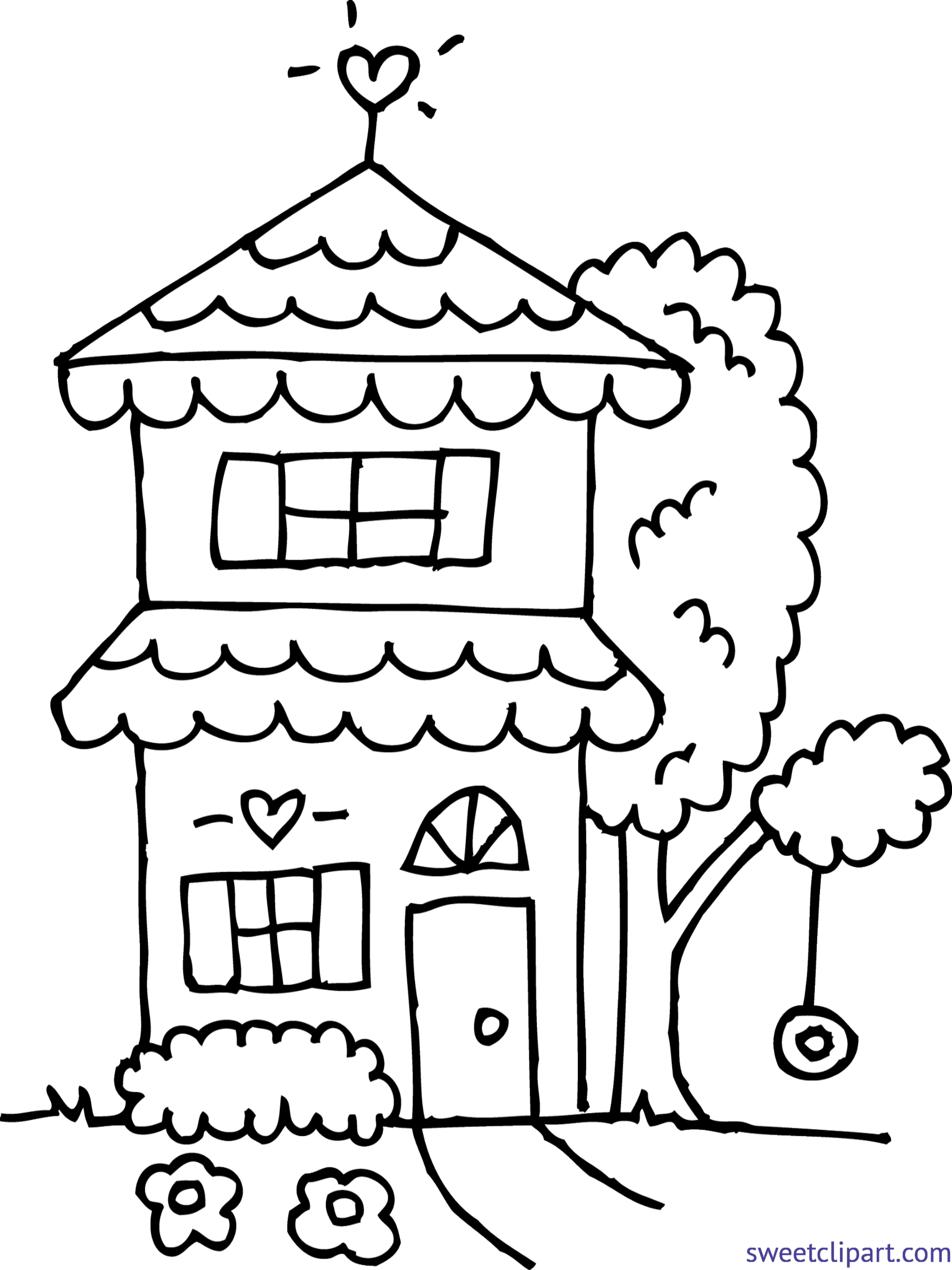 Cute house coloring clip. Yogurt clipart colouring page