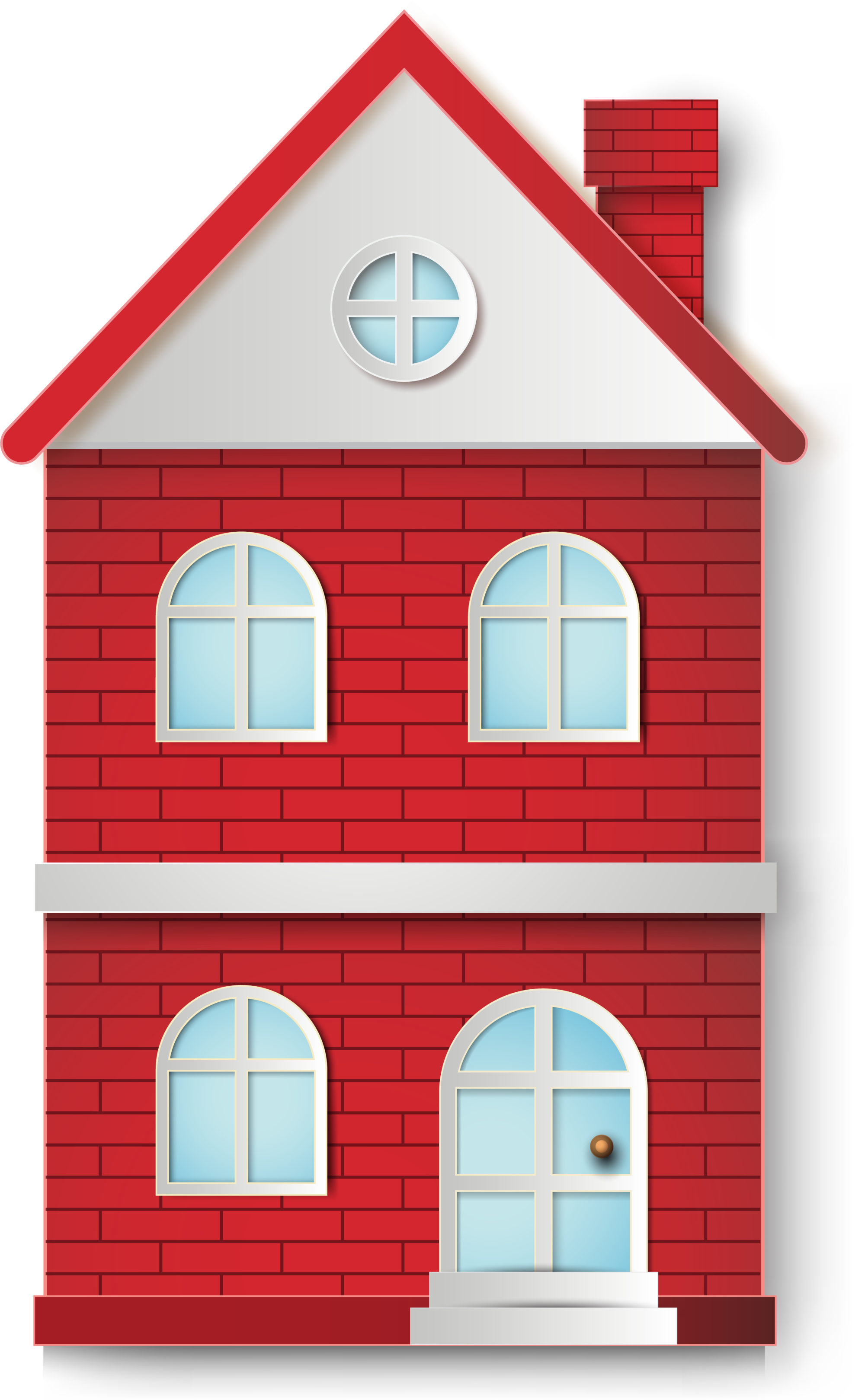 Villa red cartoon transprent. Home clipart brick house