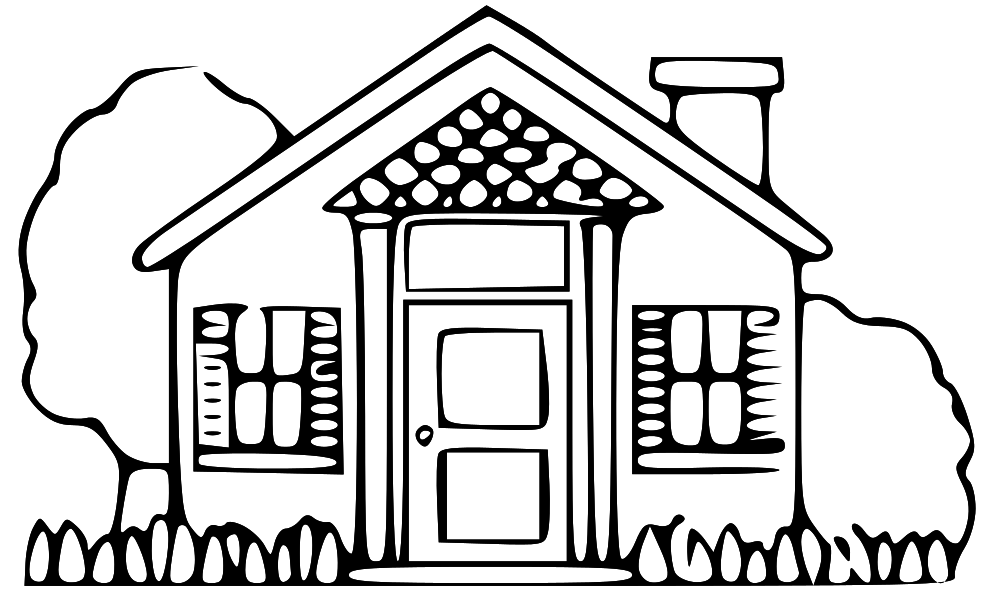 Free home clip art. House clipart black and white