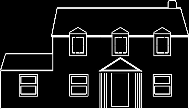 Black and white. Farmhouse clipart ranch house