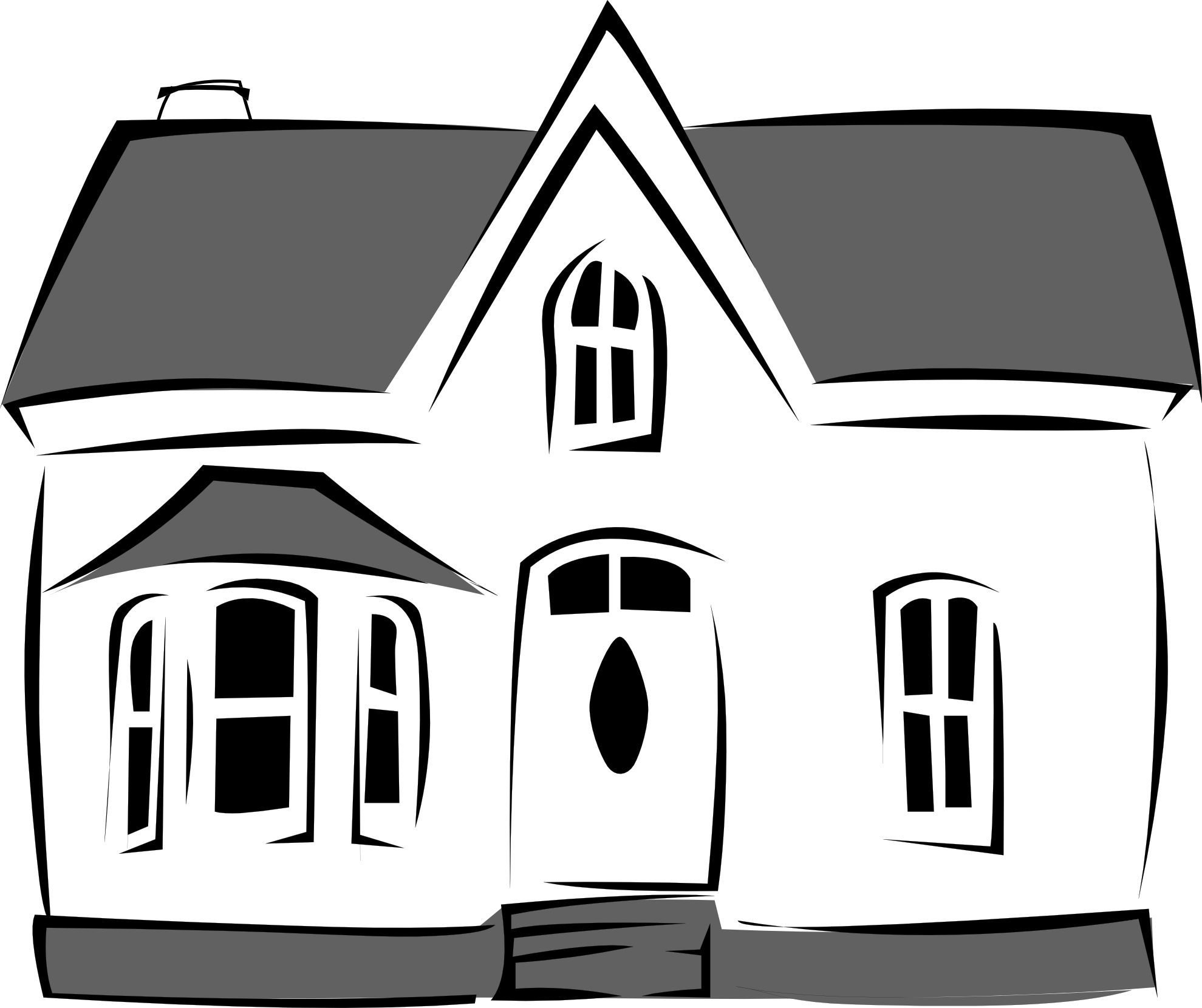Cartoon best. House clipart black and white