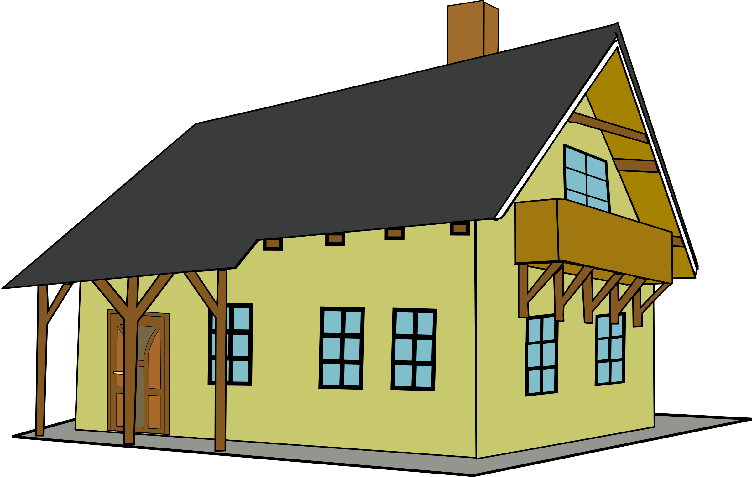 collection of sloping. Houses clipart yellow