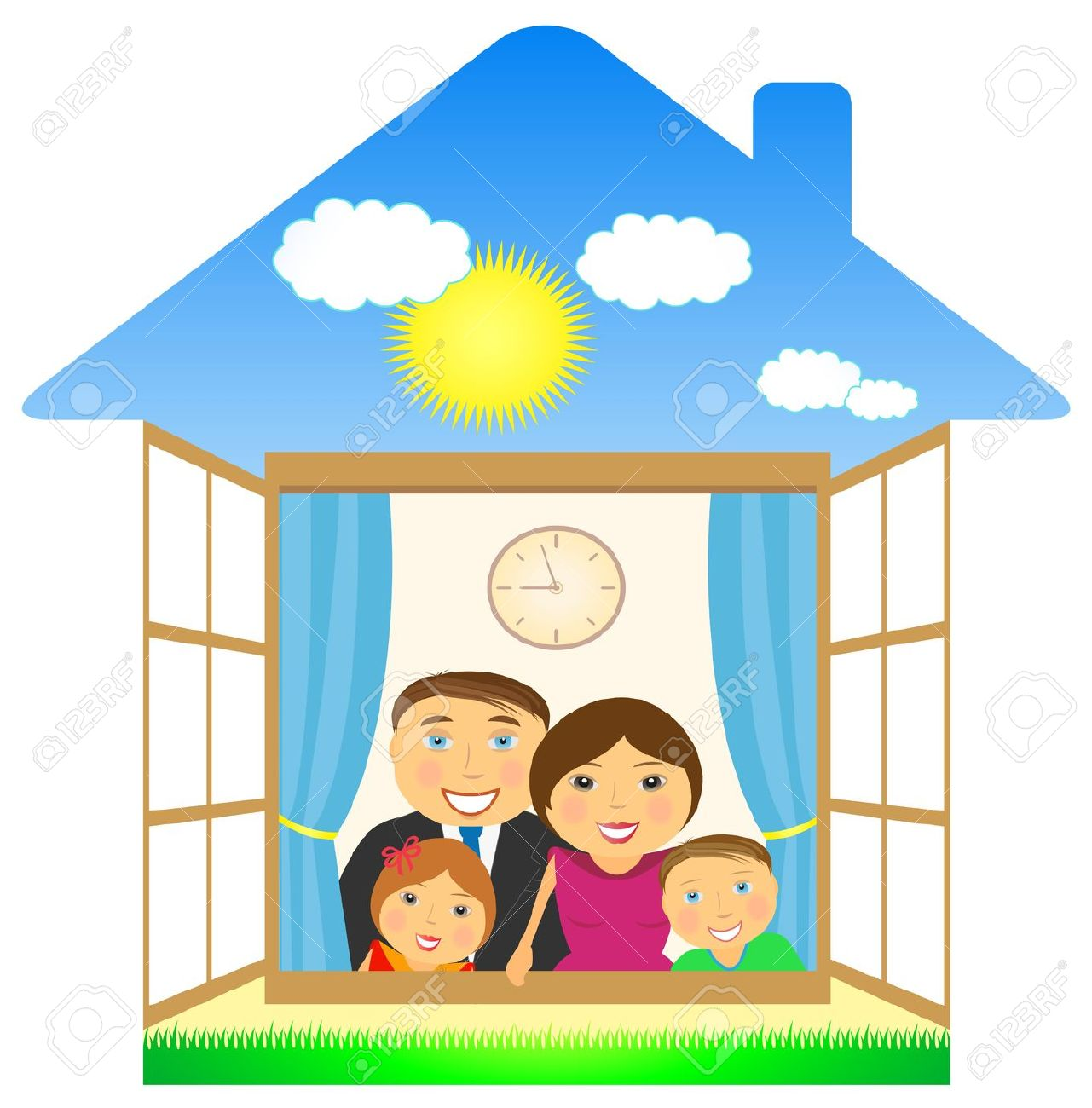 Home and free download. Houses clipart family