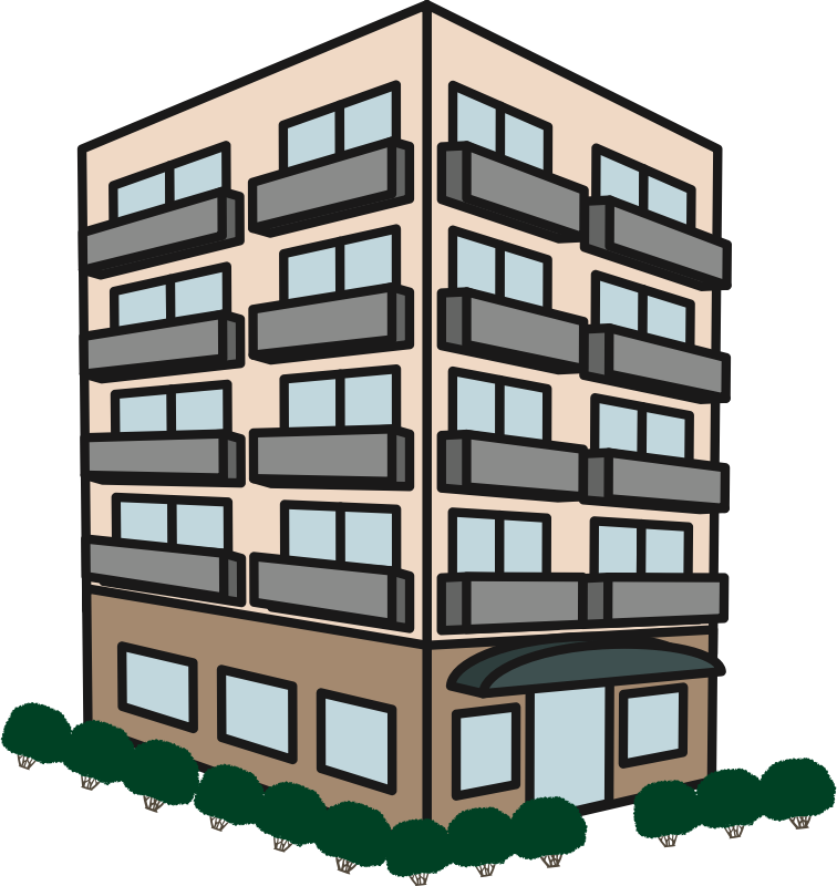 Apartment clipart flat. Building medium image png