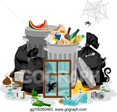 Garbage clipart household waste. Eps illustration pile of