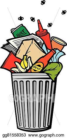 Garbage clipart garbage box. Vector illustration full rubbish