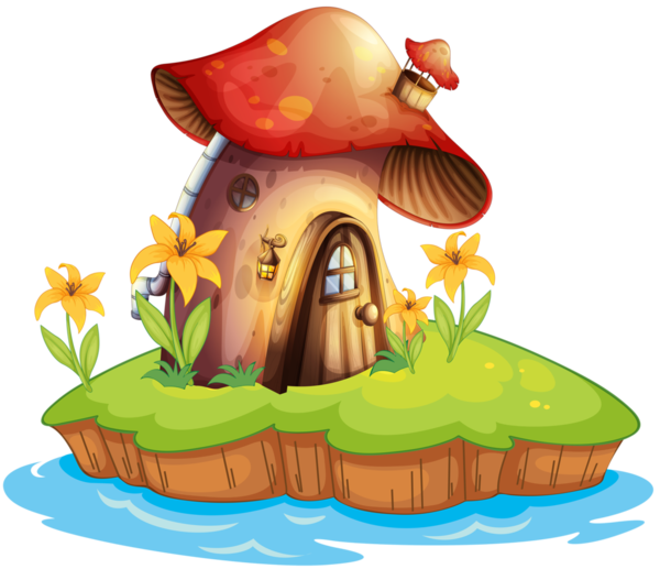Clipart houses forest. Champignons png tubes kvety