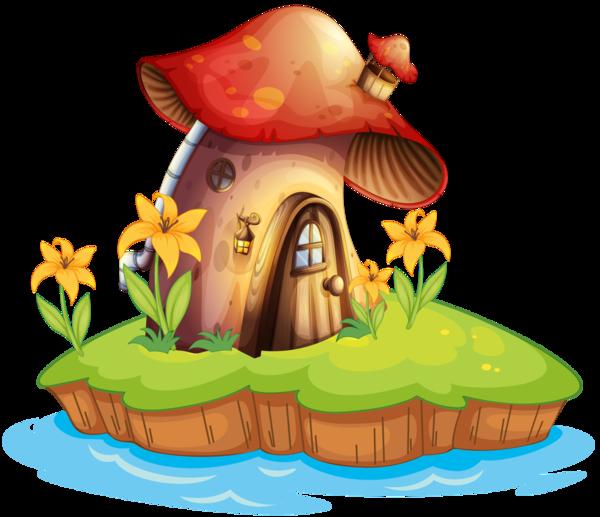 Mushrooms clipart fairy village. Champignons png tubes kvety