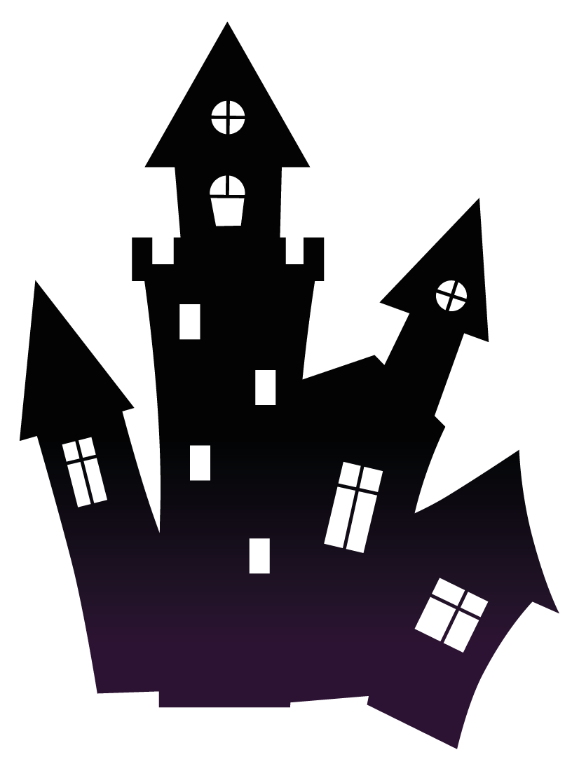 Black scary clipart gallery. Haunted house silhouette png