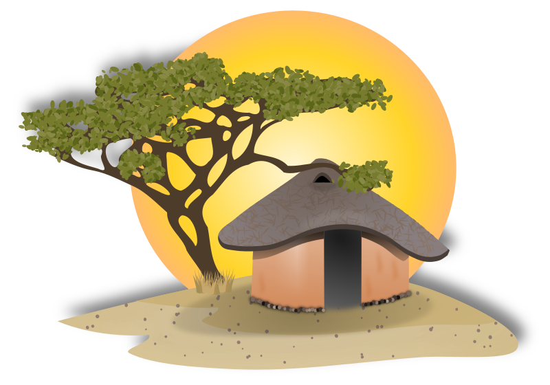 African hut medium image. India clipart village