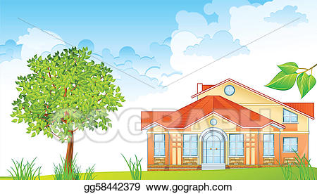 Landscape clipart house. Vector with illustration