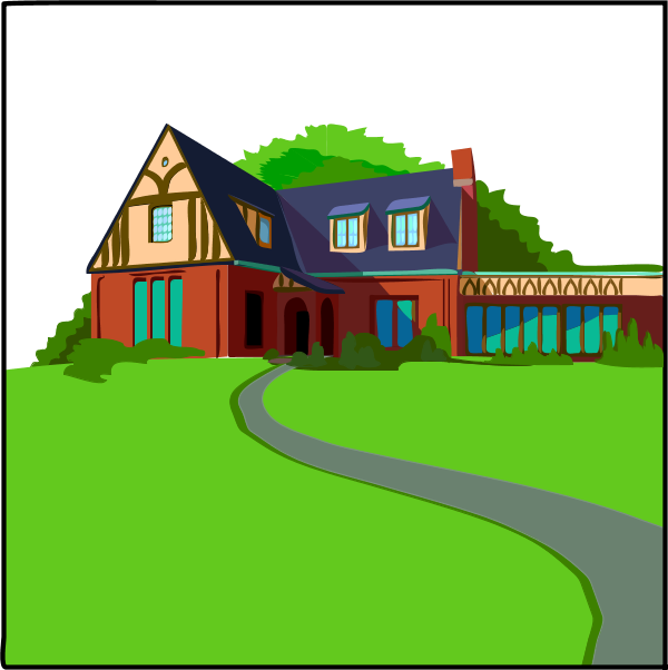 Landscape clipart house. Country with driveway