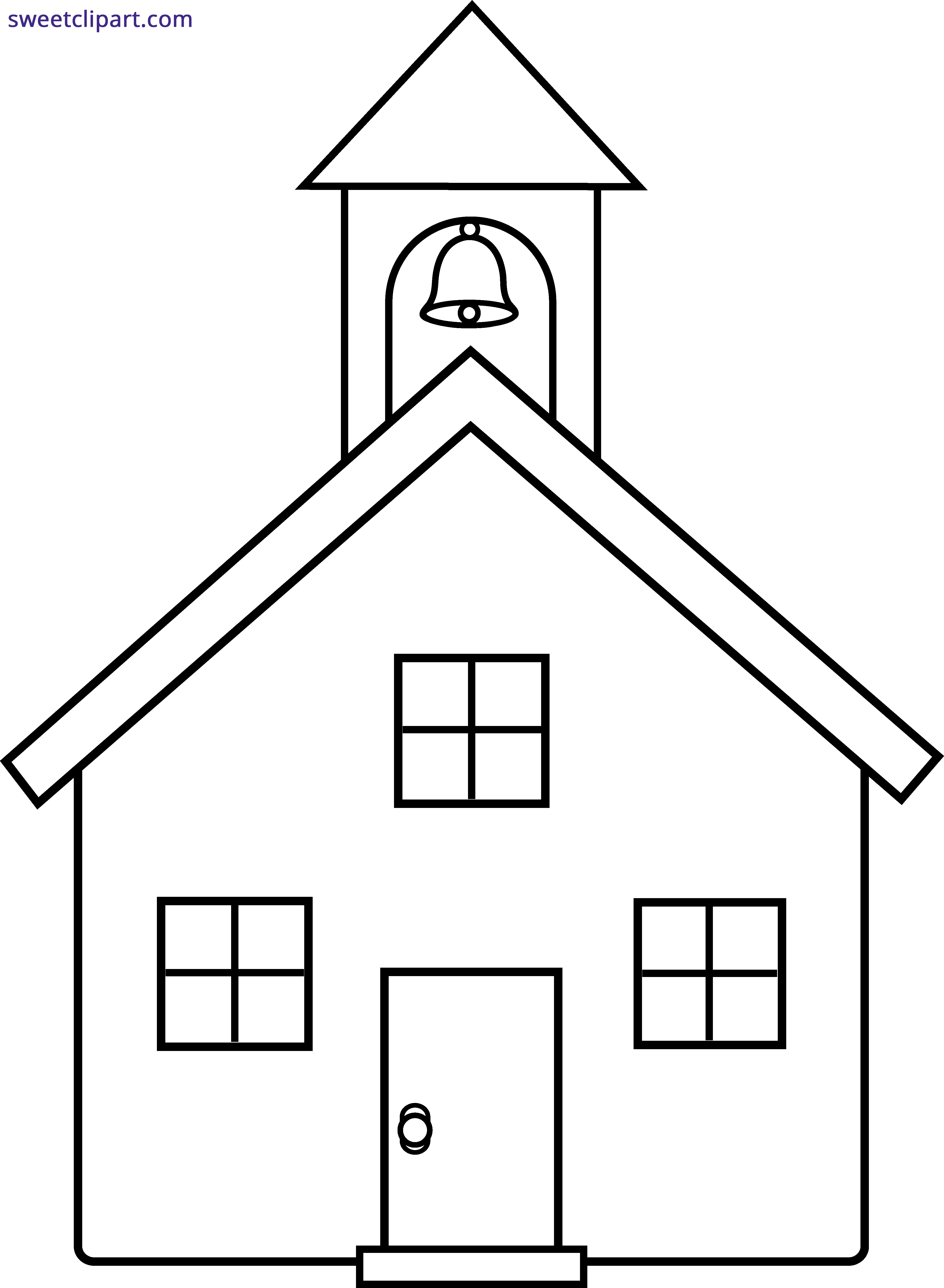 School house line art. Schoolhouse clipart schhol