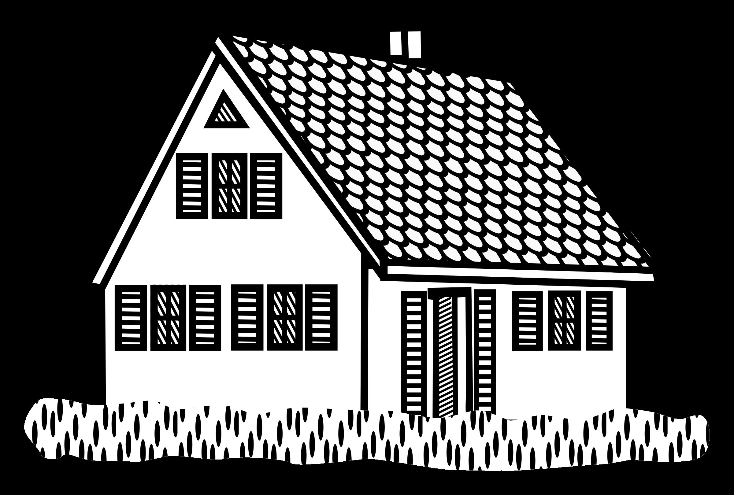 Cottage clipart line art. House lineart big image