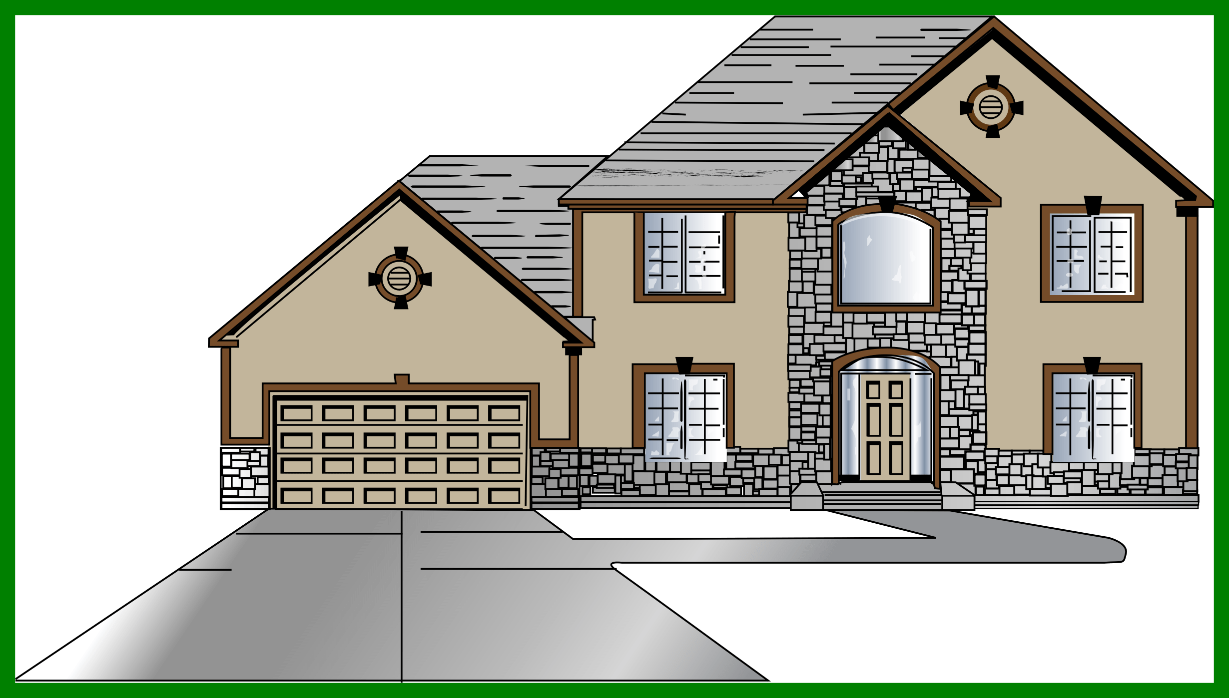 Best blue country house. Home clipart yard