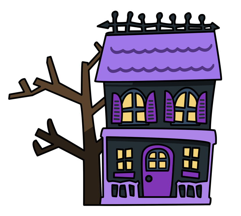 Hut clipart bahay. Haunted house black and