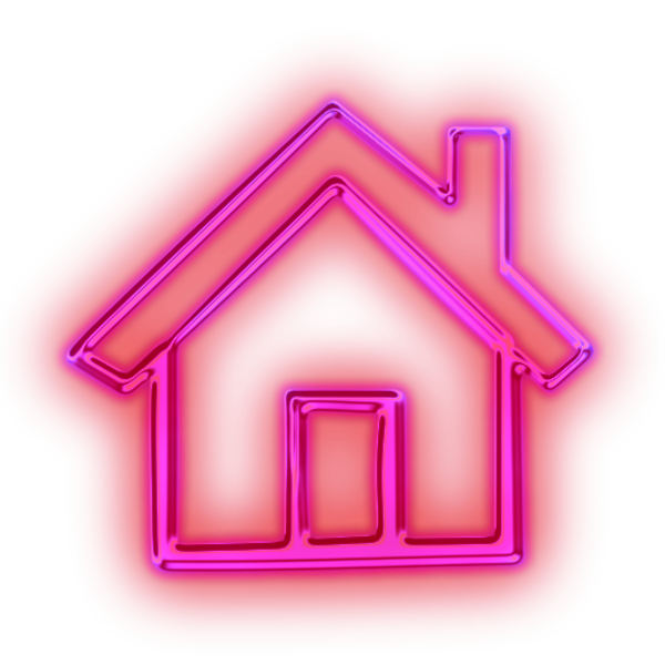 Home clipart pink. Glowing purple neon icon