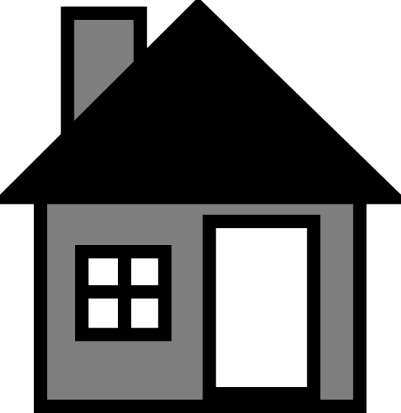 Clipart home property. Grey house the clip