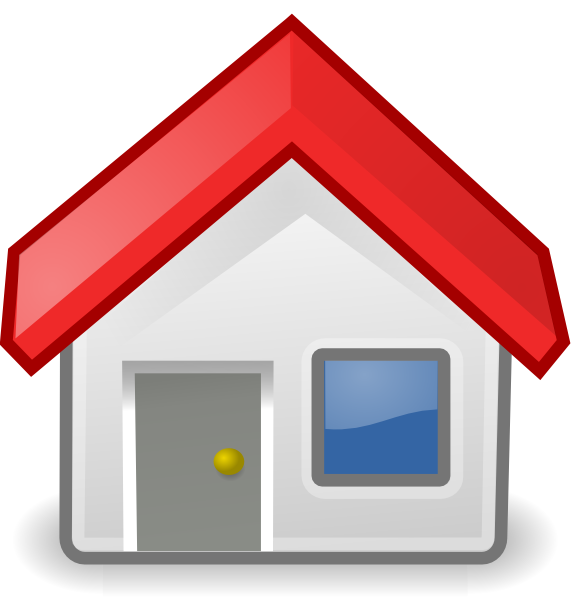 Clipart home property. Red roofed icon clip