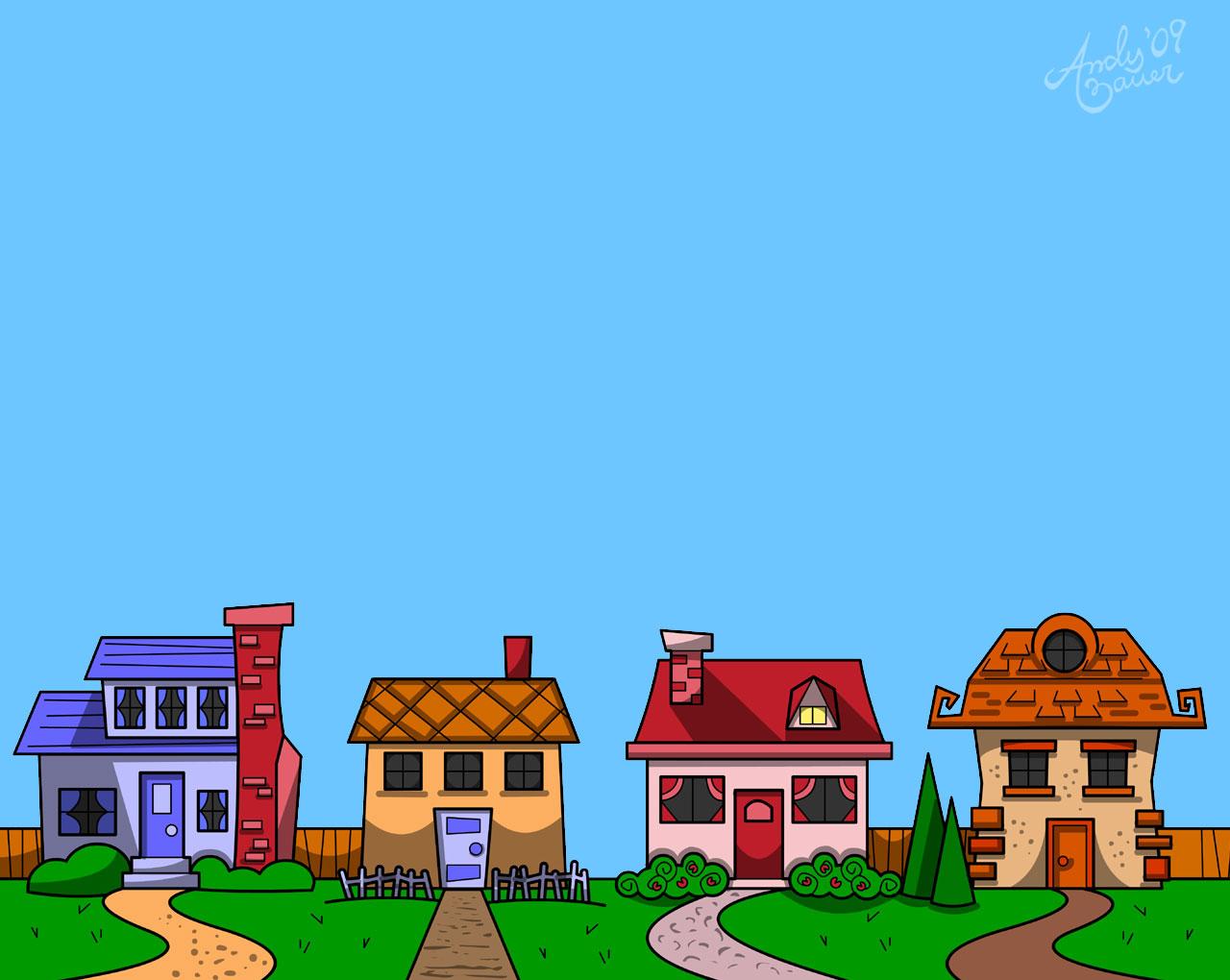 Free row of houses. Neighborhood clipart house