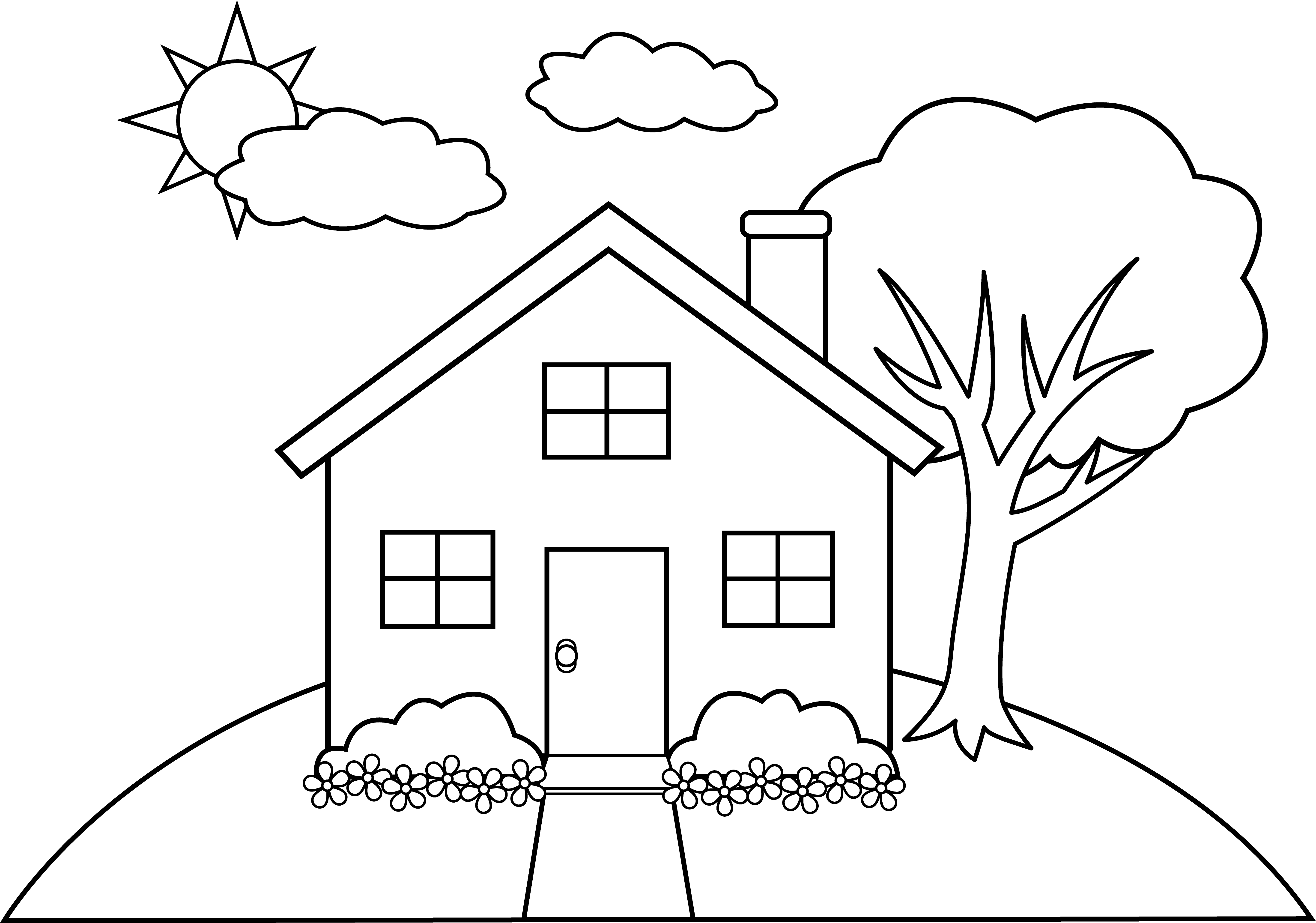 Line art of a. Outside clipart hils