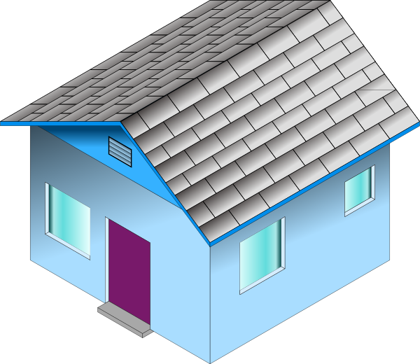 Blue clip art at. Home clipart small house