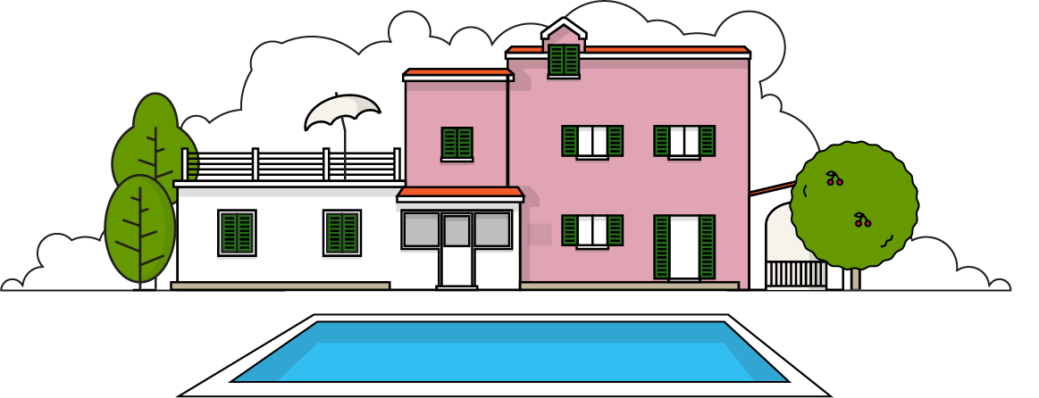 Koprivno designed for relaxation. Home clipart holiday home