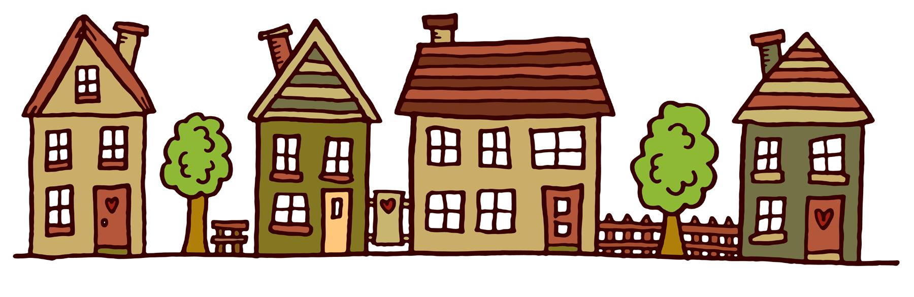 Free street house cliparts. Neighborhood clipart townhouse