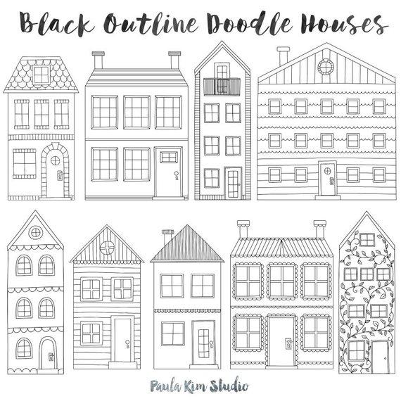 Clip art black outline. Clipart home townhouse