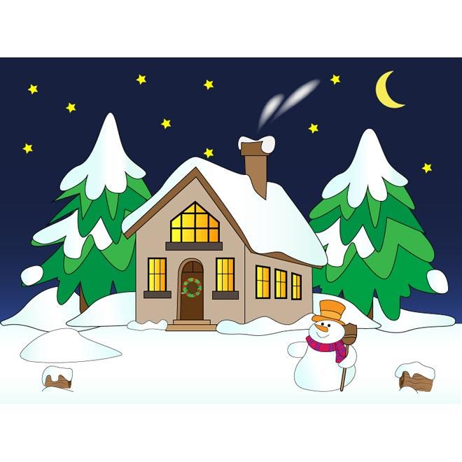 Winter clipart scene. House cliparts zone