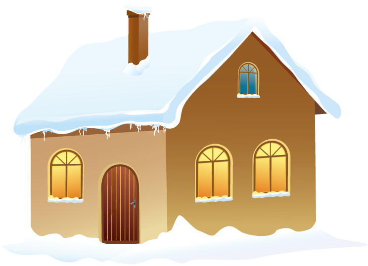 With snow png picture. Winter clipart house