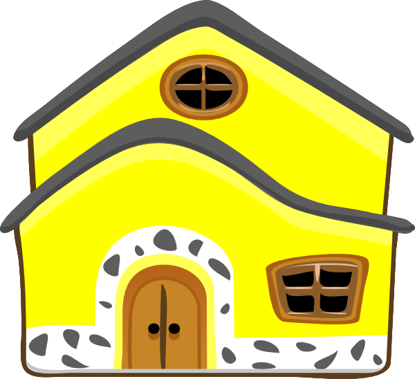 Home clipart animated. Yellow house clip art