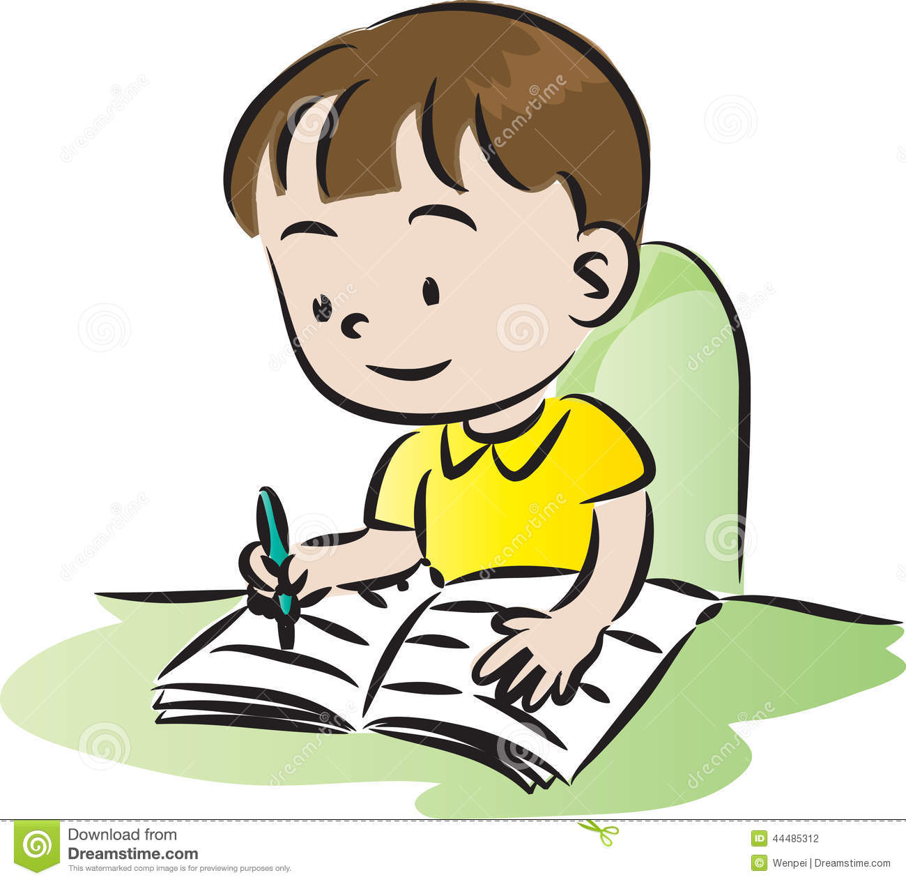Boy doing . Writer clipart homework