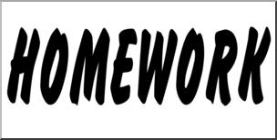 Clip art banner b. Homework clipart word