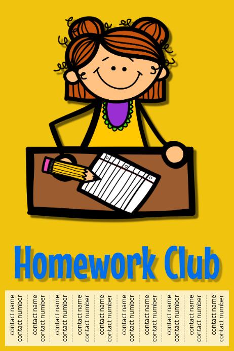 Template postermywall . Homework clipart homework club