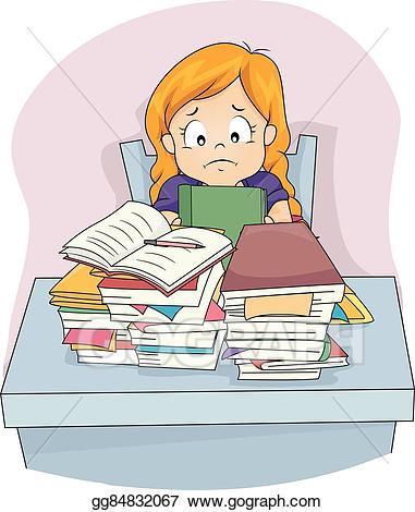 Girls clipart homework. Vector art kid girl