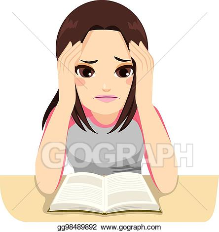 Vector art girl studying. Worry clipart stressed female student