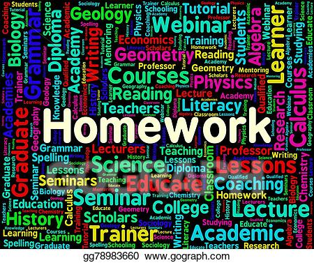 Indicates assignments text and. Homework clipart word
