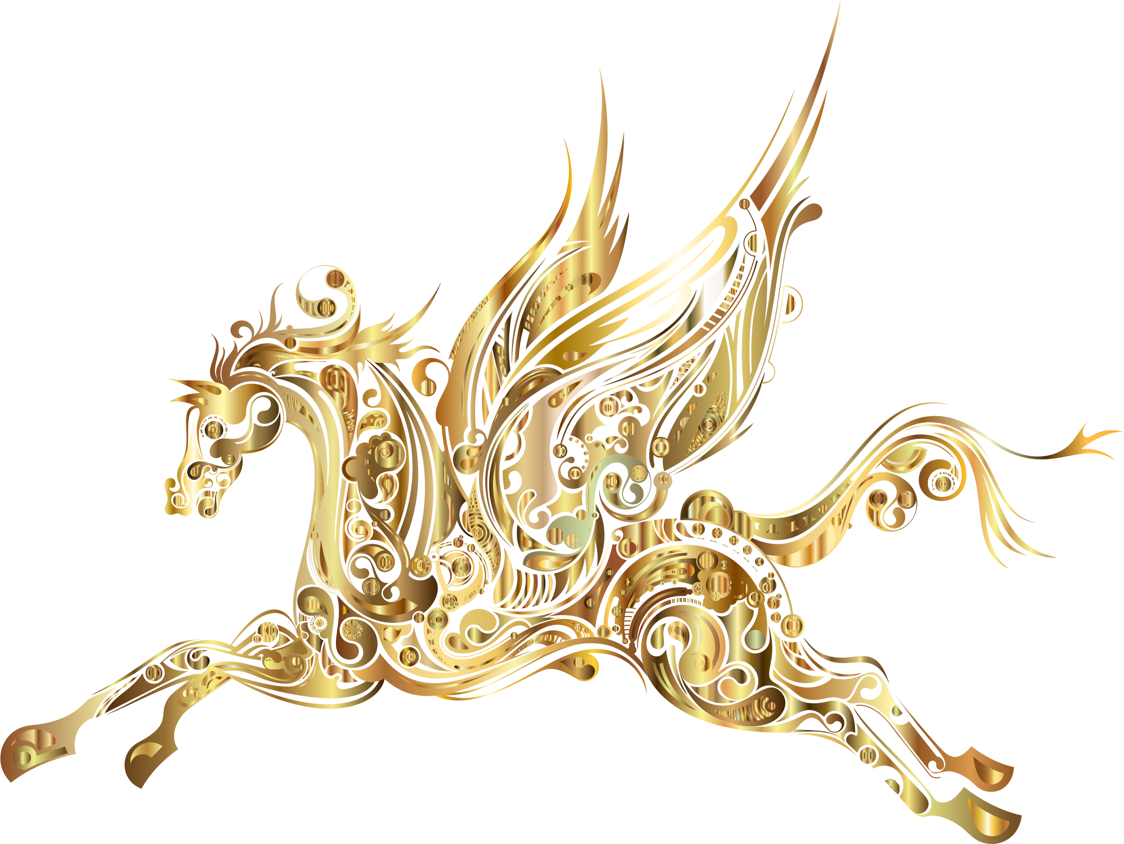 Winged gold big image. Clipart horse abstract