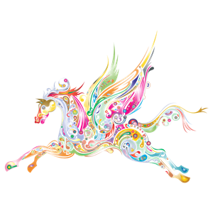 Winged prismatic cliparts of. Clipart horse abstract