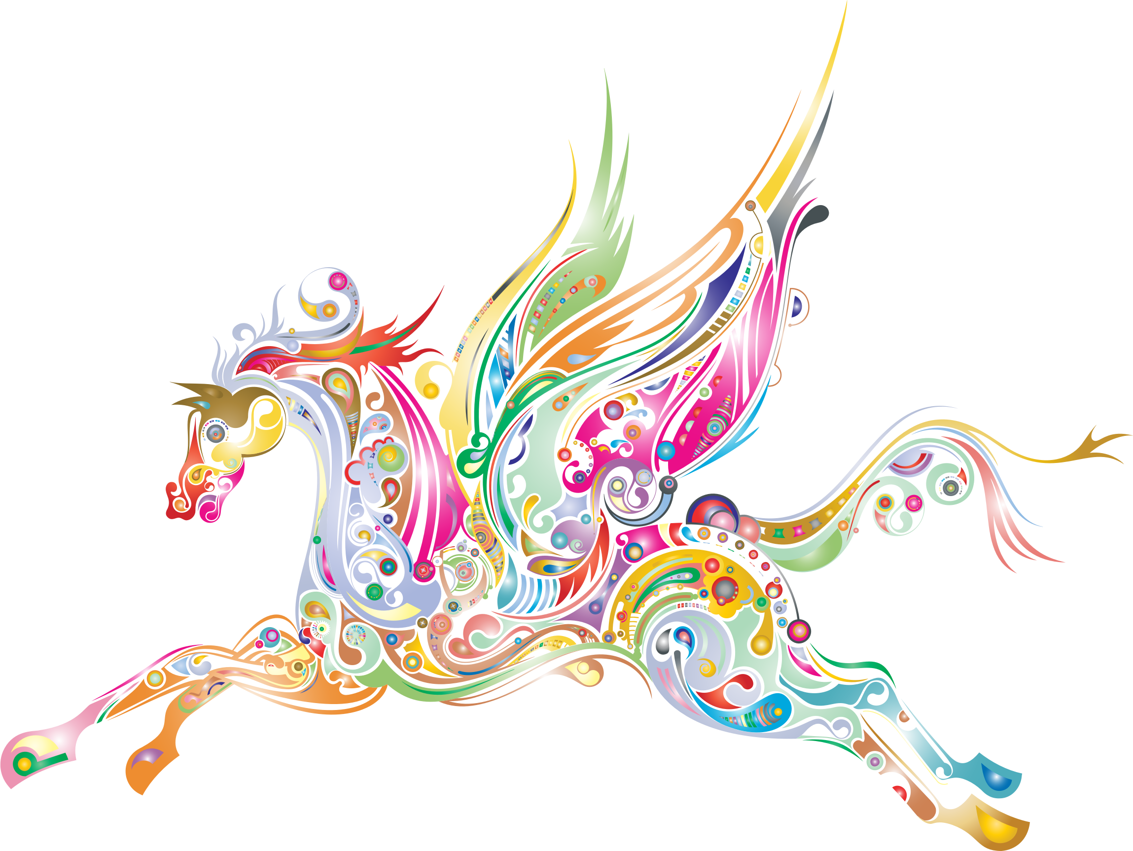 Clipart horse abstract. Winged prismatic big image