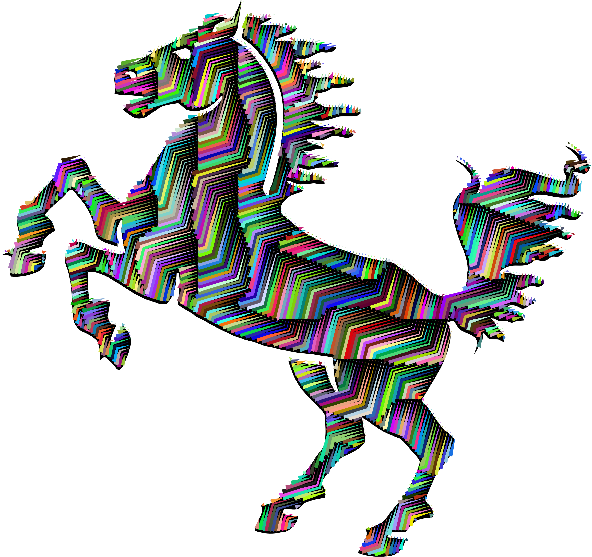 Horse clipart equine. Prismatic silhouette abstract line